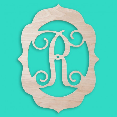 18 In. Fancy Frame Wood Monogram