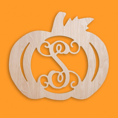 18 in Pumpkin Wood Monogram