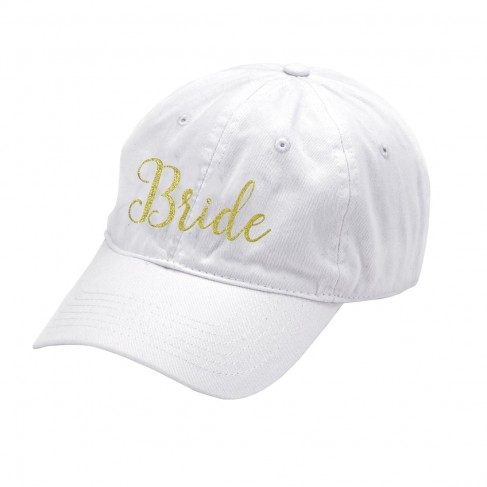 White Cap Embroidered BRIDE in Gold Thread