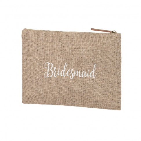 Burlap Zip Pouch Embroidered BRIDESMAID in White Thread