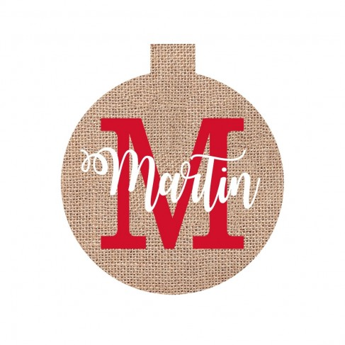 Burlap Name Ornament